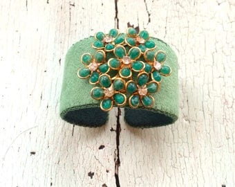 Green Floral Adjustable Cuff with Rhinestone Centered Flowers