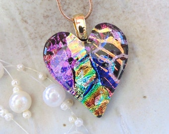 Heart Necklace, Fused Glass Pendant, Glass Jewelry, Gold, Green, Pink, One of a Kind, Necklace Included, A8