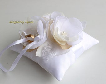 White Wedding pillow with 3 ivory flowers and embroiderings --ring bearer pillow, wedding rings pillow , wedding pillow, ready to ship
