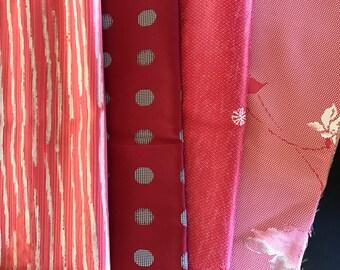 "Shibori red Japanese vintage kimono fabric 10 panels vintage kimono silk fabrics crafting supplies quilting fabric material 10x14"" panels"
