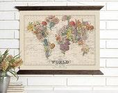 Vintage Map Art, Bouquet, Wood Bound Canvas, Floral World Map Art