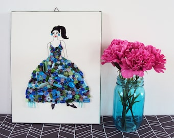 Embroidery, beaded ART. Embroidery fashion ilustration. Lady peacock