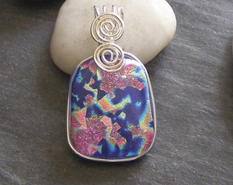 Pink blue Fused Glass Pendant with sterling wire