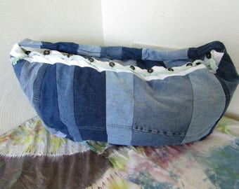Upcycled and Reconstructed Large Jean Shoulder Bag
