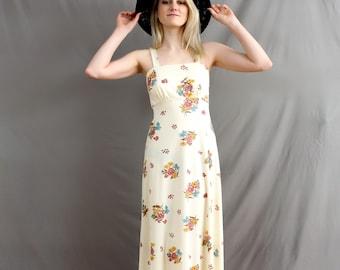 1970's Prairie Girl Floral Maxi Dress in Medium . Bouquet Wedding Dress . Sleeveless Spaghetti Straps . Beige Spring Gown Frock