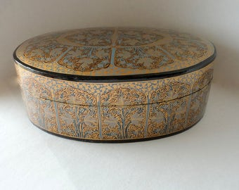 "Vintage Oval Kashmir Paper Mache Lacquered Trinket Box 8 5/8"" Steel Blue Gold Floral Black Hand Made Painted Large Treasure Tea Caddy Stash"