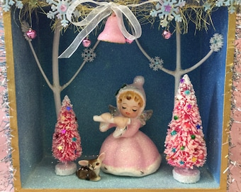 SALe...Vintage  Christmas  Shadow Box...Pink Angel.. Handmade and Ooak!!!...SPECIAL Holiday Sale...LAST ONE!!!