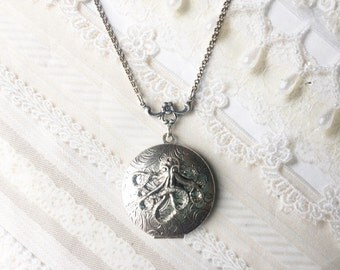 Silver Locket Necklace- The ORIGINAL Silver OCTOPUS LOCKET - by BirdzNbeez - Mother's Day Birthday Friend Sister Gift