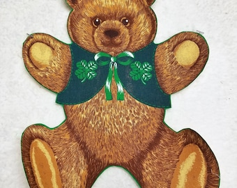 Vintage Large St. Paddy Teddy Bear with vest  Iron On Applique 13 x 10