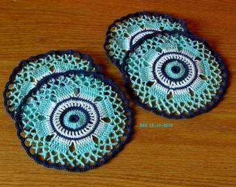Navy & Turquoise Coasters - Set of 4 - Handmade Crochet Coasters - Graphic Blue and White Thread Crochet Lace Art Decor - Dining Room Decor
