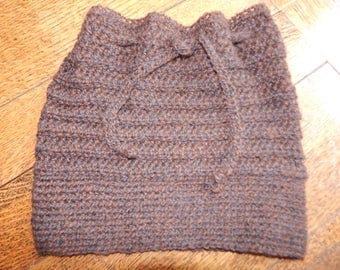 Hand Crocheted Baby Alpaca Drawstring Cap Convertible  Cowl OOAK SOFT and WARM Comfort!