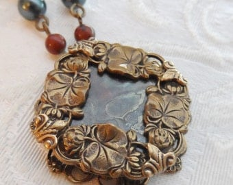 Water Lilies, Antique Mother of Pearl Button Necklace, Autumn Jasper