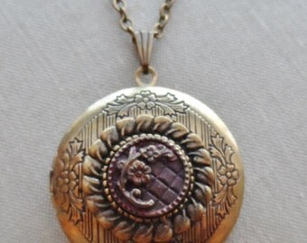 Antique Button Locket Necklace, Victorian Era, Burgundy Rust Tint with Flower and Faux Quilted Background, Timeless Trinkets