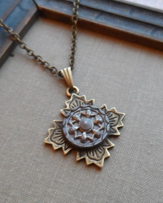 Sale-Antique Button Necklace-Silver Geometrical Shape, Snowflake Design