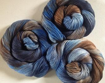 50/50 merino silk hand dyed 4ply yarn Cowboy Sky  380yds approx