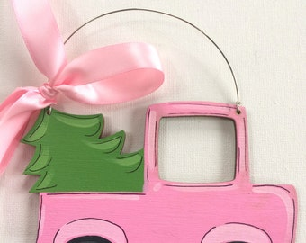 Pink Truck Ornament - Personalized Ornament - Painted Truck Ornament - Farm Ornament - Southern Ornament - Painted Ornament - Christmas tree