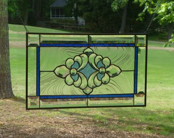 Blue Two Toned Stained glass and Beveled Panel!