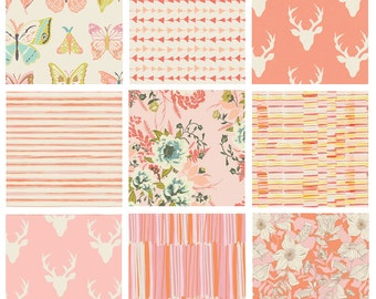 9 FABRIC QUILTING BUNDLE - Hello, Bear (Pink) - Art Gallery Fabrics - Bonnie Christine - Woodland Fabric - Deer Head Antlers Woods Forest