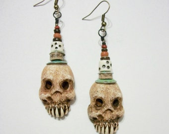 Skull earrings, Rustic Skull, Shrunken Head, Zombie, Voodoo Skull, Skeleton, Horror Jewelry, Zombie Head Earrings