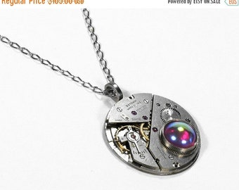 Steampunk Jewelry Necklace Vintage 1900s GOTHAM Silver Swiss Pocket Watch PINK Crystal Womens Mothers Bridal Gift - Steampunk by edmdesigns