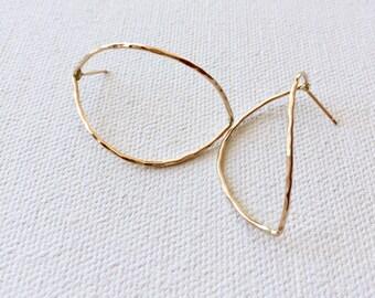 Open crescent post earrings