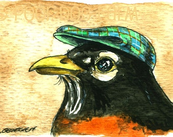 Pappoús Robin   - Original ACEO Painting