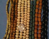 Vintage Bead Assortment Mix, 7 Strands Total, 2 Carved Bone, 3 Buri Nut, 2 Sand Cast African Glass, Ethnic Jewelry Supplies #2