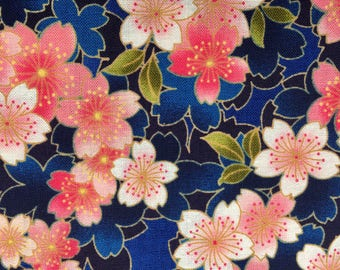 Sakura Cherry Blossom in pink and indigo blue Japanese cotton fabric AP52308-1E