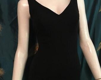 1950's Jantzen Swimsuit Black Pin Up One Piece Skirted Bullet Bust True Vintage Size 14