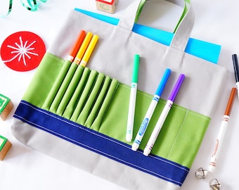 Crayon Tote • Crayon Bag • Coloring Bag • Art Tote • Crayon Holder • Crayon Roll • Ring Bearer • Busy Bag • Activity • ARTOTE • Snow Park