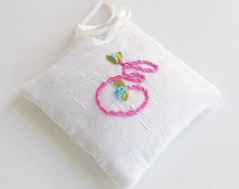 Letter E lavender sachet, silk ribbon embroidery initial, personalized hanging sachet, closet freshener