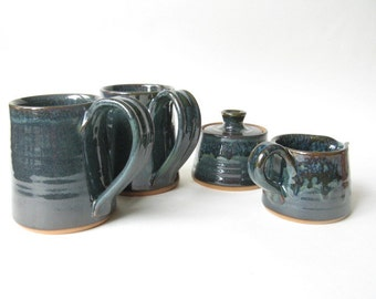 Coffee Mugs with Cream and Sugar