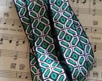 Vintage Black and Green Braided Ribbon- 4 Yards