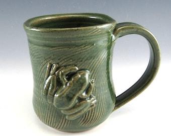 Pottery Mug/ Frog Mug/Pottery Frog Cup/Froggy mug