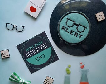 Nerd Alert Patch Nerd Scout Merit Badge Science Geek Iron on Woven Patch Glasses