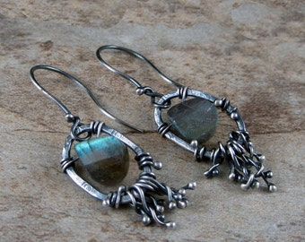 Artisan earrings, Black sterling silver drop earrings, rustic silver earrings, handcrafted earring, unique earring, metalwork earrings