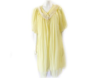 Vintage 50s Sequin Yellow Babydoll Peignoir Set // Yellow Sequins Chiffon Robe and Night Gown// 129