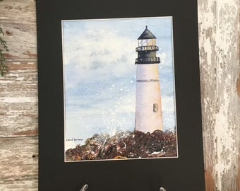 Mixed Media Lighthouse Painting-Watercolor and Acrylic Painting-Painting of Ocean-Maine