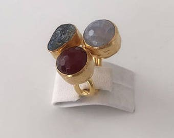 Triple Gold plated  Agate  and  Druzy  ring