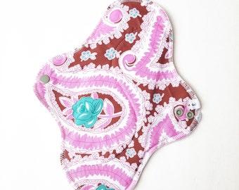 Mama Cloth Pad - Floral Paisley Cotton HEAVY Cloth Mama Pad Postpartum  .. 10 inch FREE SHIPPING