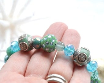 Green and Blue Bracelet, Seafoam Green Beaded Bracelet, Holiday Jewelry, Stretch Bracelet, Ornate Bracelet, Sparkly Jewelry