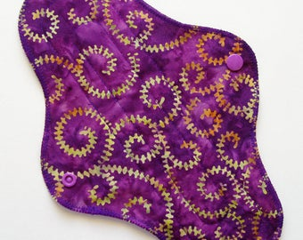 "10.5"" Batik Cotton Heavy Cloth Menstrual Pad, Purple Fern Swirl Green Orange, Incontinence Pad, Cloth Sanpro CSP, Plus Size Pad Moon Pad"