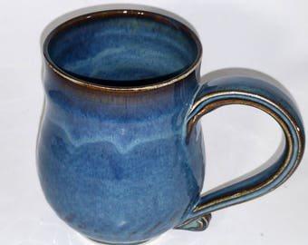 Blue Mug - Wheel Thrown Pottery - Holds 16 ounces or 2 cups or 20 ounces when filled to the brim!