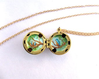 Miniature Spring Bird Oil Painting Hidden in Ball Locket, Mama and Two Babies, Tiny Nature Art