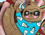 Sloth Ornament - Stocking Stuffer, Christmas Decoration, Funny Christmas Ornament, Wooden Ornament, Hand painted, Cute Christmas Ornament