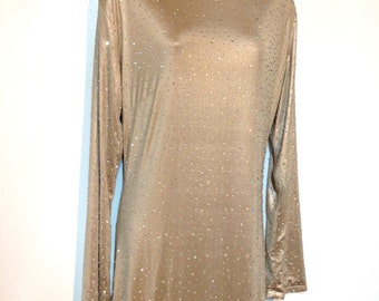 Long Gold Dress w/ Crystals Size 14 to 16 Gold Formal Dress