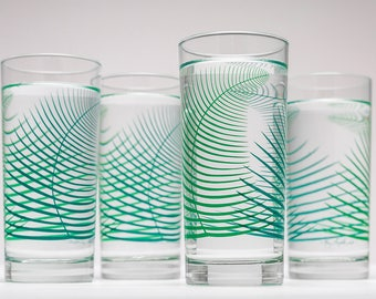 Summer Green Ferns Glassware - Set of 4 Cocktail Highball Glasses, Fern Glasses, Summer Fern Glasses, Green Fern Glassware, Tropical Leaf