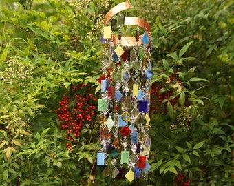 Glass Wind Chime - Glass Suncatcher - One Of A Kind Gift, Garden Art Anniversary, Birthday, Wedding, Housewarming, Copper Whirly Jig