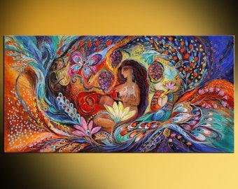 "69"" Original huge wall art interior design giclee canvas print ""Song of Songs"" blue red orange color wall decor Jewish heritage Israeli art"