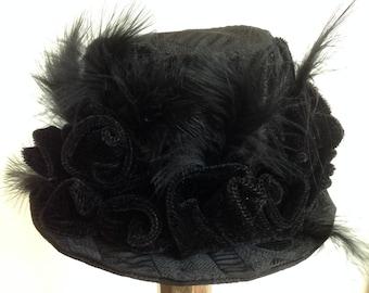Black Mini Top Hat Steampunk Mini Hat Edwardian Ball Neo Victorian Fascinator